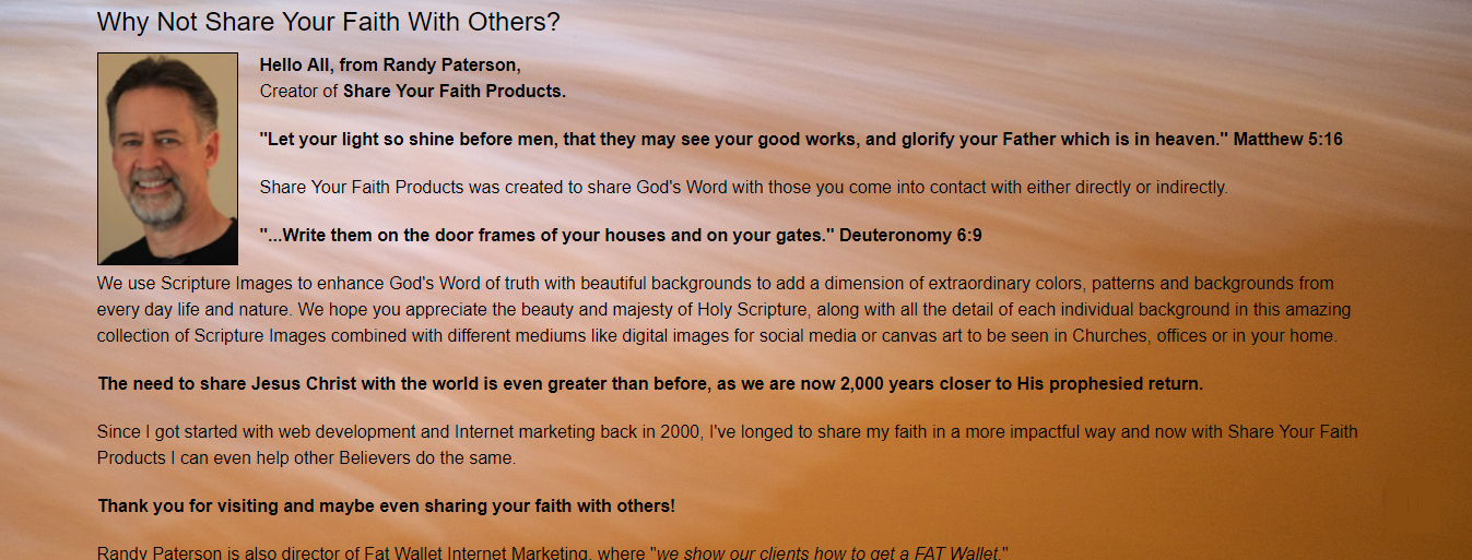 Randy Paterson Share Your Faith Products Canvas Art